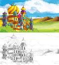 The sketch coloring page with preview beautiful for children Stock Images