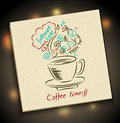 Sketch concept of coffee time on serviette handmade with cup inscription internet café and symbol using web Stock Photo