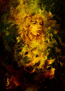 Sketch of courageous young woman face on abstract spotted background. Royalty Free Stock Photo