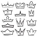 Sketch crown. Simple graffiti crowning, elegant queen or king crowns hand drawn. Royal imperial coronation symbols, monarch