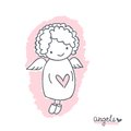 Sketch with cute angel hand drawn and heart and text on a white background vector illustration for design Stock Photos