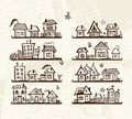 Sketch of cute houses on shelves for your design Royalty Free Stock Photography