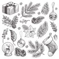 Sketch decoration xmas set. Christmas hand drawn vintage present and holly, toys and holiday stocking isolated vector
