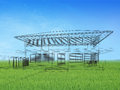 Sketch design of house d wire frame render Stock Photography