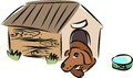 Sketch doggie cute in doghouse Royalty Free Stock Images