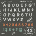 Sketch doodle chalk font vector letters numbers and signs Stock Photography