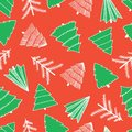 Abstract doodle Christmas trees white and green on red seamless vector pattern. Modern holiday background. Sketch
