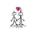 Sketch doodle human stick figure couple in love with a heart