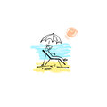 Sketch doodle human stick figure relaxing in a deck chair Royalty Free Stock Photo