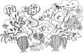 Sketch doodles: couple dialogue vector