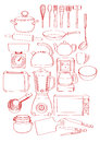 Sketch drawing bunch kitchen tools kitchenware can be used as background separate elements Stock Photography