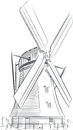 Sketch of dutch landmark windmill a vector image an architectural the this vector is very good for design that needs s Stock Photos