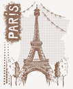 Sketch Eiffel Tower in Paris, France. Vector illustration in vintage style. Tshirt design with hand drawing Eiffel Tower Royalty Free Stock Photo