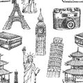 Sketch Eiffel tower, Pisa tower, Big Ben, suitecase, photocamera, Chinese temple and Statue of Liberty, vector seamless pattern
