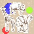 Sketch elephant, giraffe and hippo, vector background Royalty Free Stock Photo