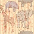 Sketch elephant, rhino, giraffe and hippo, vector seamless patte Royalty Free Stock Photo