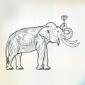 Sketch elephant stand and lotus flower on paper Royalty Free Stock Photo