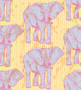 Sketch elephant, vector vintage seamless pattern Royalty Free Stock Photo