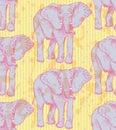 Sketch elephant, vector vintage seamless pattern Royalty Free Stock Photo