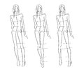 Sketch fashion poses hand draw Stock Photography