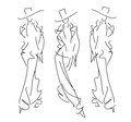 Sketch fashion poses hand drawing Royalty Free Stock Image