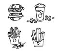 Sketch fastfood vector illustration doodle fast food Stock Photography