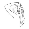 sketch female half body sensual silhouette with long hairstyle
