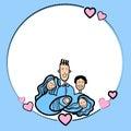 Sketch frame hand draw family parents kids heart shape love vector illustration Stock Photos