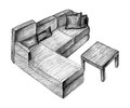 Sketch furniture white Stock Photography