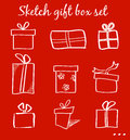Sketch gift boxes set Royalty Free Stock Photo
