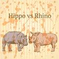Sketch giraffe, elephant, rhino, vector background Royalty Free Stock Photo