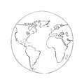Sketch globe world map black vector illustration Royalty Free Stock Photo