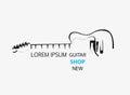 Sketch guitar line logo template