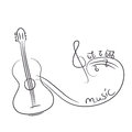 Sketch of a guitar with notes vector illustration Stock Images
