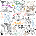 Sketch of halloween design elements with pumpkin witch cat ghost skull bats spiders with web doodles set with lettering ha hand Royalty Free Stock Image