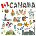 Sketch hand drawn collection of Canada symbols. Canadian culture had sketched set. Vector travel illustration with doodle letterin