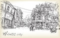Sketch of Hanoi town street market and old building , free hand