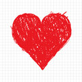 Sketch heart shape red for your design Royalty Free Stock Image