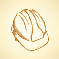 Sketch helmet vector vintage background eps Royalty Free Stock Photos