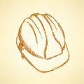 Sketch helmet vector vintage background eps Royalty Free Stock Photos