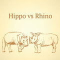 Sketch hippo vs rhino, vector seamless pattern eps 10 Royalty Free Stock Photo