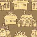 Sketch houses pattern vector seamless Stock Images