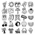 Sketch icon set of summer theme vector illustration Royalty Free Stock Photo