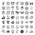 Sketch icon set of summer theme vector illustration Royalty Free Stock Photos