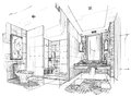 Sketch interior perspective toilet & bathroom, black and white interior design. Royalty Free Stock Photo