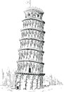 Sketch of italy landmark tower of pisa a vector image an architectural the leaning this vector is very good for design that needs Royalty Free Stock Photography