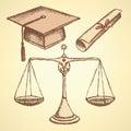 Sketch jurisdiction education set Royalty Free Stock Photo