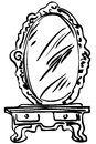 Sketch of large mirror on a dressing-table Royalty Free Stock Photo