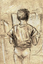 Sketch of a little boy using computer pencil drawn and looking into monitor Stock Images