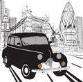 Sketch London taxi Royalty Free Stock Photo